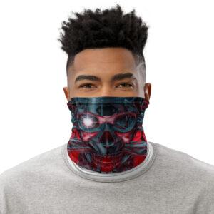 Man wearing Futuristic Skull Neck Gaiter as face mask